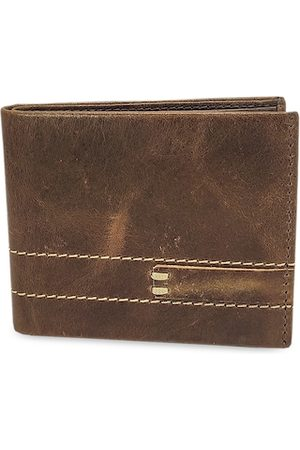 WENZEST Men Coffee Brown Solid Two Fold Wallet