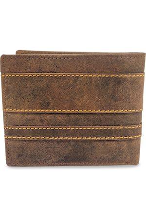 WENZEST Men Khaki Solid Two Fold Wallet