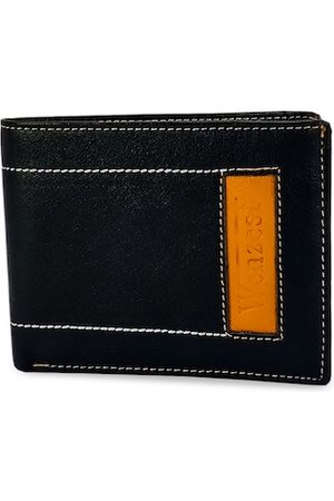 WENZEST Men Black & Yellow Solid Two Fold Wallet