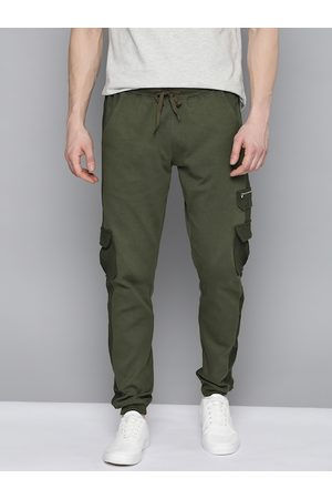 Mast & Harbour Men Olive Green Solid Pure Cotton Cargo Style Joggers