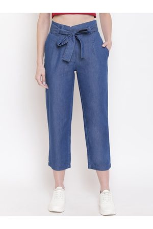Mayra Women Blue Mom Fit Solid Peg Trousers