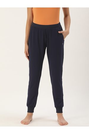 ENAMORA Woman's Navy Blue Solid Yoga Pants