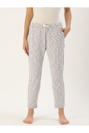 ENAMORA Women Grey Melange Relaxed Fit Solid Lounge Pants