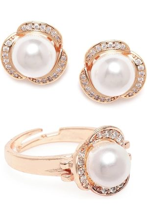 Zaveri Pearls Rose Gold-Plated White CZ-Studded Beaded Jewellery Set