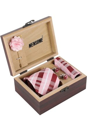 MENSOME Men Pink & Maroon Accessory Gift Set