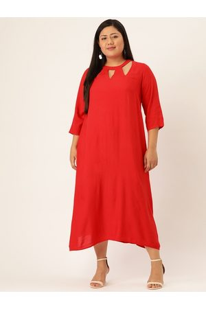 Revolution Women Plus Size Red Solid A-Line Dress