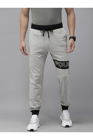French Connection Men Grey Melange & Black Solid Joggers with Brand Logo Print Detail