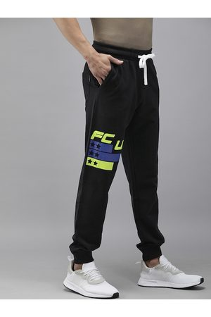 French Connection Men Black Pure Cotton Solid Joggers with Brand Logo Print Detail