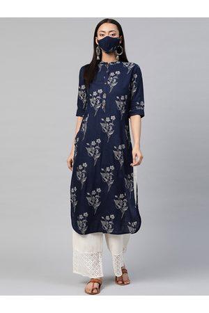 Juniper Women Navy Blue & White Bandhani Printed Liva Pathani Kurta with Mask