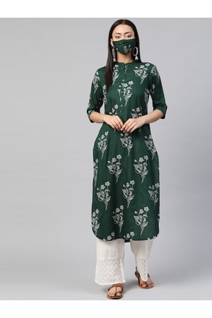 Juniper Women Green & White Bandhani Printed Liva Pathani Kurta with Mask
