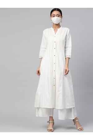Juniper Women White & Beige Dobby Weave Cotton A-Line Kurta with Mask & Scrunchie