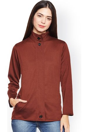 Belle Women Brown Solid Lightweight Open Front Jacket