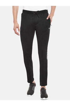 Pantaloons Men Black & White Solid With Printed Detail Slim-Fit Track Pants
