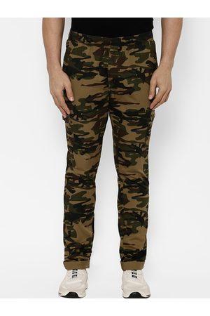 SAPPER Men Beige & Black Slim Fit Camouflage Printed Joggers