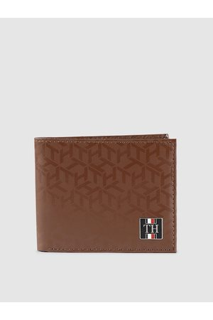 Tommy Hilfiger Men Tan Brown Printed Two Fold Leather Wallet