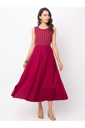 Globus Women Red Embroidered Fit and Flare Dress