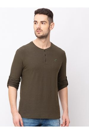 Globus Men Olive Green Solid Henley Neck T-shirt