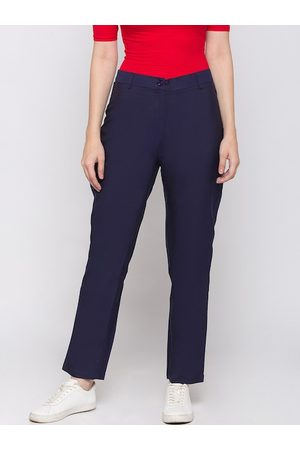 Globus Women Navy Blue Regular Fit Solid Regular Trousers