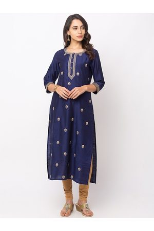 Globus Women Navy Blue & Gold-Coloured Floral Embroidered Straight Kurta