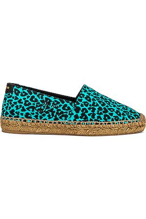 Saint Laurent Women Casual Shoes - Signature Espadrilles in Aqua & Noir