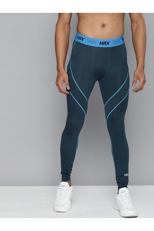 HRX Men Estate Blue Skinny Fit Rapid-Dry Antimicrobial Running Tights