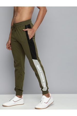 HERE&NOW Men Olive Green Solid Straight Fit Joggers with Printed Detailing
