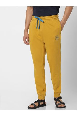 Jack & Jones Men Mustard Yellow Straight Fit Solid Joggers