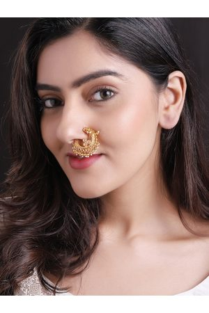 Rubans Women 24k Gold-Plated White Beaded Handcrafted Clip-On Nose Ring