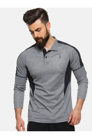 Campus Men Grey Colourblocked Polo Collar T-shirt