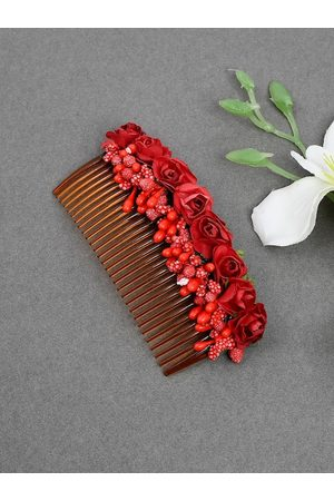 Silvermerc Designs Red Floral Handcrafed Hair Accessory