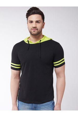 GRITSTONES Men Black Solid Hood T-shirt
