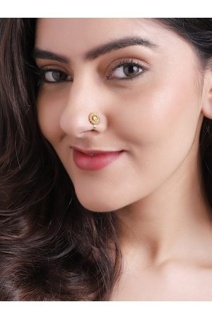 Rubans Women Gold-Plated White Filgree Handcrafted Nose Stud