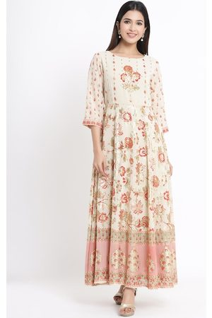 Juniper Women Cream-Coloured Printed Maxi Dress