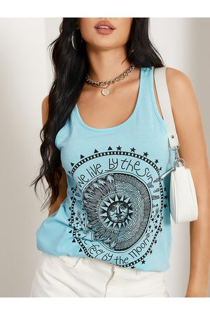 YOINS Disk Letter Round Neck Casual Tank Top