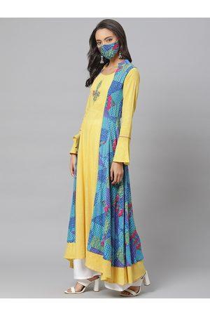 Yash Gallery Women Yellow & Blue Striped Layered High-Low Anarkali Kurta with Mask