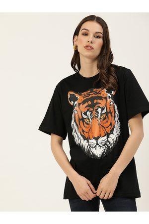 DILLINGER Women Black Printed Round Neck Longline Oversized T-shirt