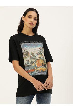 DILLINGER Women Black Printed Round Neck Oversized Longline T-shirt