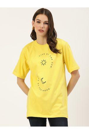 DILLINGER Women Yellow Printed Round Neck Longline Oversized T-shirt