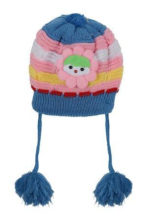 Superminis Unisex Kids Teal & Pink Self Design Beanie