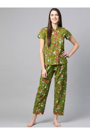 Yash Gallery Women Green & Red Floral Printed Night Suit
