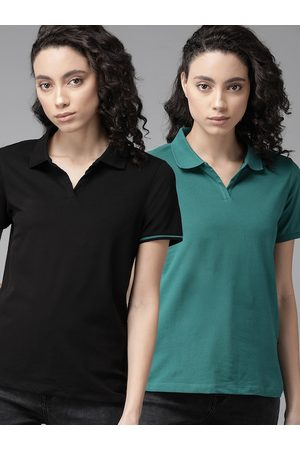 Roadster Women Pack of 2 Solid Polo Collar T-shirt