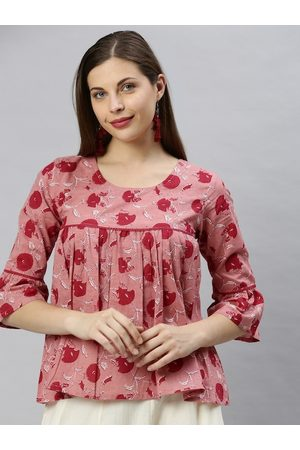 Janasya Women Pink & Maroon Floral Printed Bell Sleeves Empire Top
