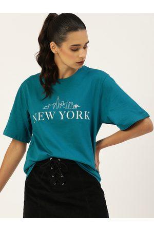 DILLINGER Women Teal Blue Printed Round Neck Longline Oversized T-shirt