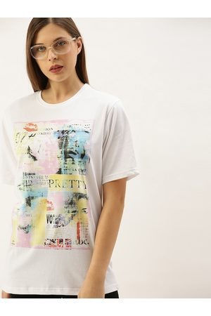 DILLINGER Women White Printed Loose Fit Round Neck Longline T-shirt