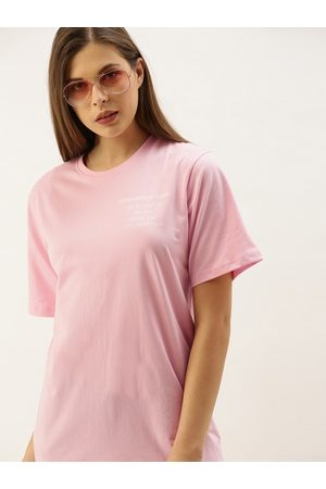 DILLINGER Women Pink Printed Round Neck Longline Oversized T-shirt