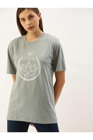 DILLINGER Women Short Sleeve - Women Grey Printed Round Neck Longline Oversized T-shirt