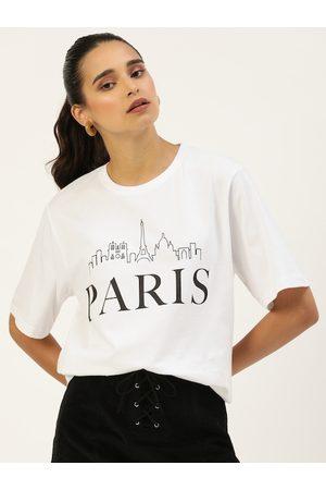 DILLINGER Women White Printed Round Neck Longline Oversized T-shirt