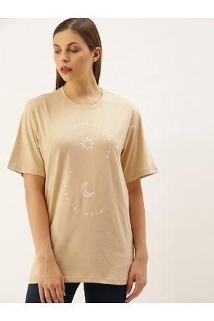 DILLINGER Women Beige Printed Round Neck Oversized Longline T-shirt