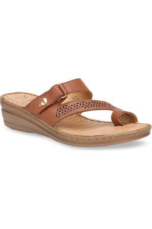 Scholl Women Brown Textured Leather Comfort Heels