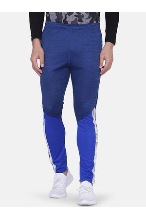 Aesthetic Bodies Men Blue & White Colourblocked Slim-Fit Track Pants